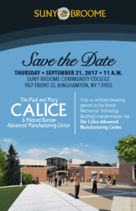 Save the date advertisement for the Calice Center groundbreaking
