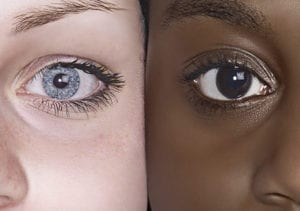 An image of a fair-skinned, blue-eyed individual and a dark-skinned, brown-eyed individual