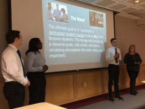 Honors students present on the need for a centralized student lounge.