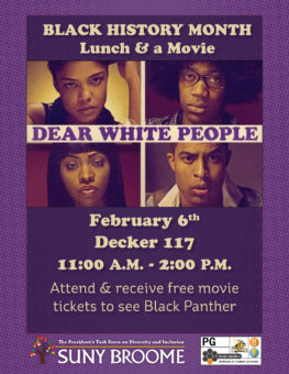 Join the President's Task Force on Diversity and Inclusion on Feb. 6 for a showing ofDear White People.
