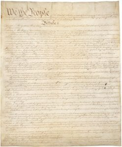 The first page of the U.S. Constitution
