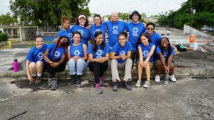 SUNY students volunteering with NECHAMA in Puerto Rico, including Milagros Gonzalez.