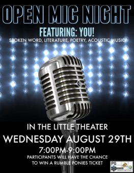 Share your work of poetry, acoustic music, literature or spoken word during an Open Mic Night, hosted in the Angelo Zuccolo Little Theatre from 7 to 9 p.m. August 29.