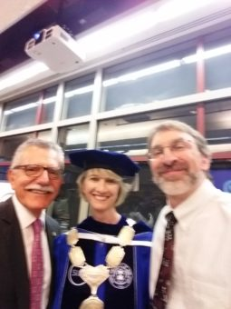 SUNY Broome Executive Vice President Francis Battisti, SUNY Chancellor Kristina Johnson, Professor Timmy Bremer