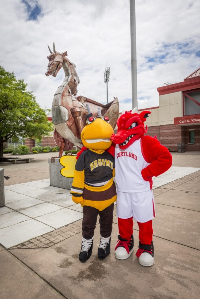 Stinger and SUNY Cortland's Red Dragon