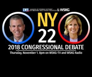 A live debate between 22nd New York District Congressional candidates Claudia Tenney and Anthony Brindisi will be held at 8 p.m. Nov. 1 on WSKG-TV and WSKG Radio.