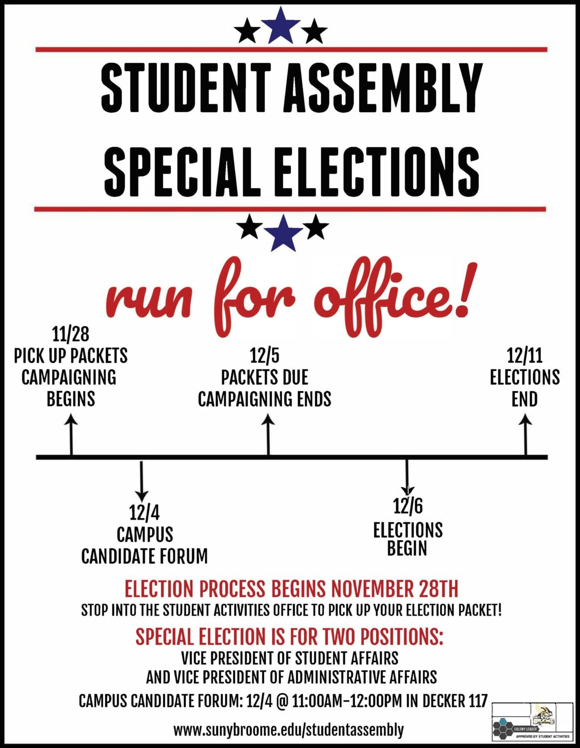 Run for Office: Student Assembly Special Elections