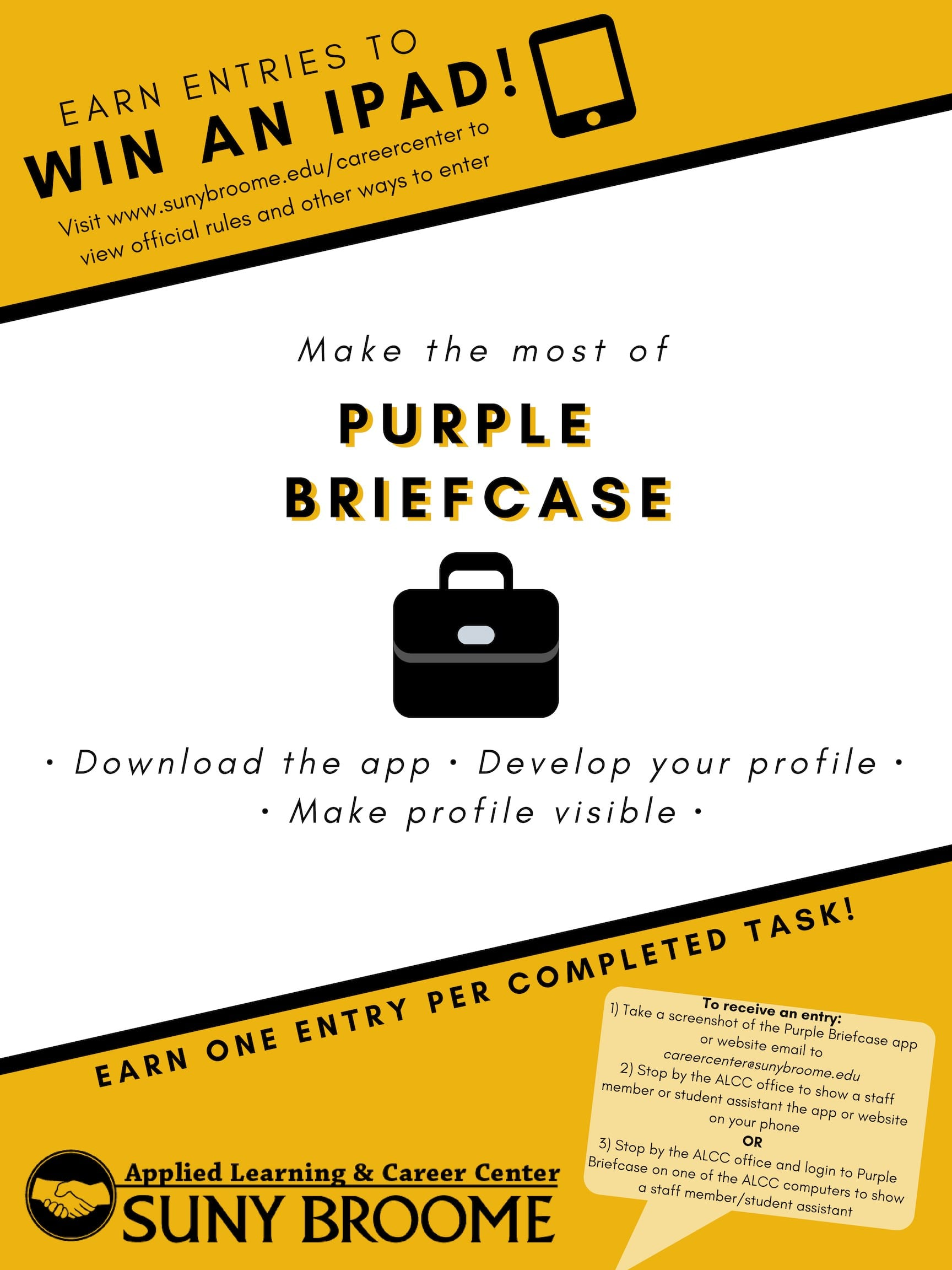 Learn about Purple Briefcase while earning entries to win an iPad!