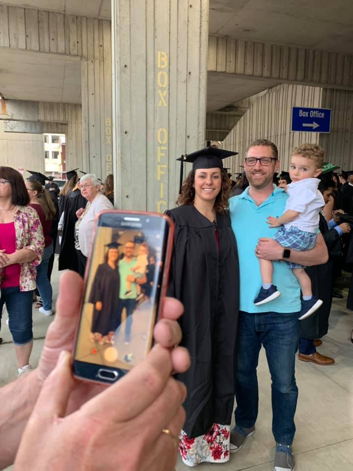 Vanessa Corica, a marketing management and sales major from Endicott takes a minute for a photo with her husband John and son Elias as they get ready for SUNY Broome's graduation Thursday.