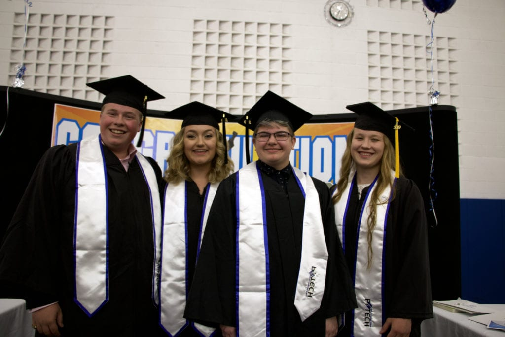 P-Tech graduates Brock McWherter, Callie Grassi, Gray Dailey and Yana Moroz