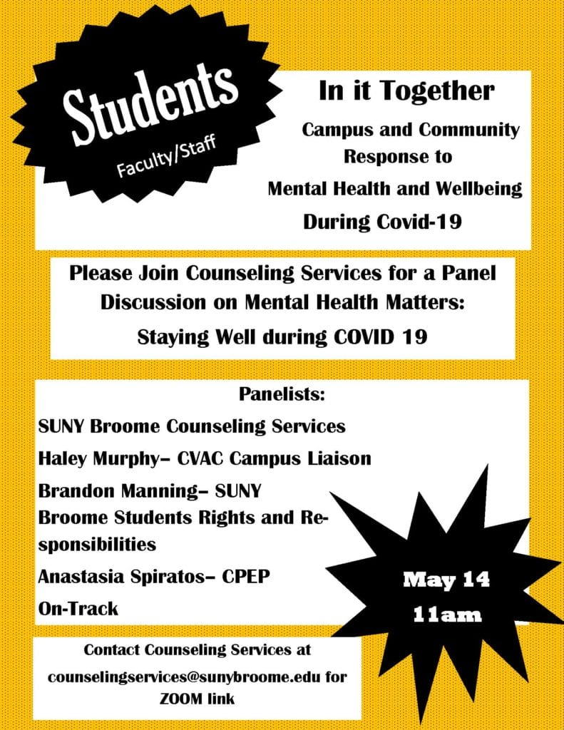 Counseling Services Mental Health Panel on May 14, 2020 at 11am