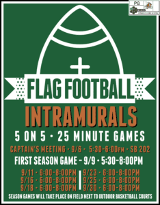 Intramural Flag Football - Captain's Meeting @ Old Science Building, Room 202