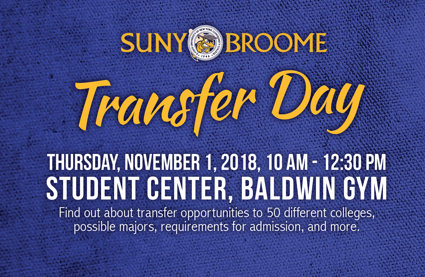 Don't forget: Nov. 1 is Transfer Day in the Baldwin Gym!